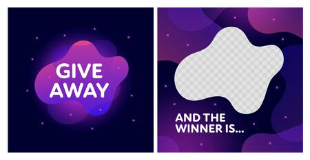 Giveaway and win banner post template set. Vector liquid illustration. Fluid pink gradient abstract splash with transparent copy space. Design for social media networks, gift ad, competition. Ilustração