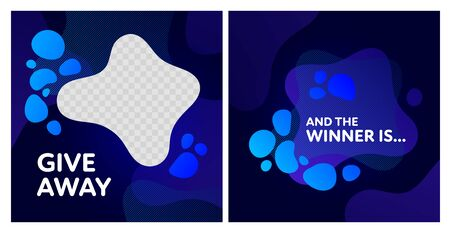 Giveaway and win banner post template set. Vector liquid illustration. Fluid blue gradient abstract splash with transparent copy space. Design for social media networks, gift ad, competition. Ilustração