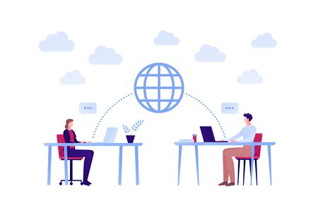 Business global team work concept. Vector flat person illustration. Male and female sitting with laptop, planet and talk bubble sign. Design element for banner, poster, background.