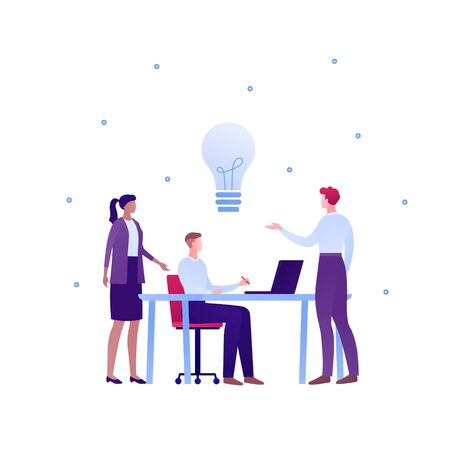 Business teamwork brainstorm concept. Vector flat person illustration. Group of people discuss around table with laptop and light bulb idea sign. Design element for banner poster, background. Ilustração