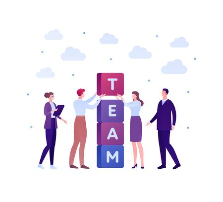 Business teamwork success concept. Vector flat person illustration. Group of male and female employee in suit building tower of block with team text. Design element for banner poster, background. Ilustração