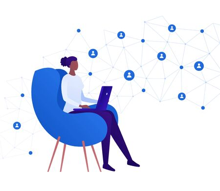 Business freelance work concept. Vector flat person illustration. African female sitting with laptop on chair and network connection sign. Design element for banner, poster, background.