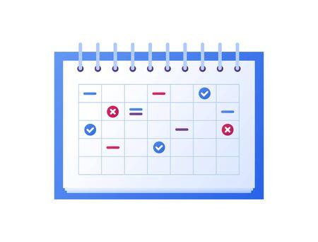 Business task and time managment concept. Vector flat object illustration. Colorful planning calendar sign. Design element for banner, poster, background.