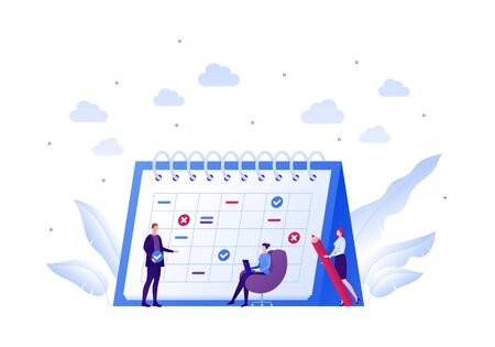 Business team planning schedule concept. Vector flat people illustration. Businessman in suit and females with laptop and red pen. Calendar planner sign. Design element for banner, poster, background. Banque d'images - 140625755
