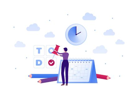 Business planning schedule concept. Vector flat people illustration. Woman holding pin on todo text. Pen, clock and calendar planner sign. Design modern element for banner, poster, background.