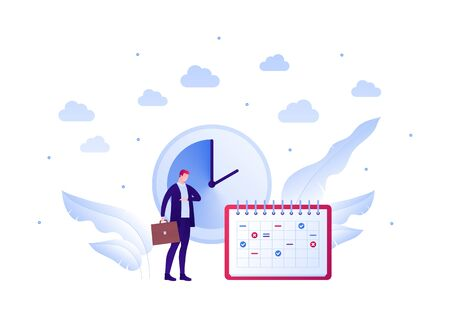 Business planning schedule concept. Vector flat people illustration. Businessman with briefcase in suit watching clock. Calendar planner symbol. Design element for banner, poster, background.