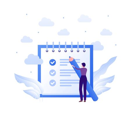 Business task management concept. Vector flat people illustration. Woman holding big blue pen. To-do list and check mark sign. Design element for banner, poster, background.