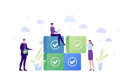 Business team task management concept. Vector flat people illustration. Businessman in suit and females with laptop and piece of puzzle. Check mark sign. Design element for banner, poster, background. Stock Illustratie