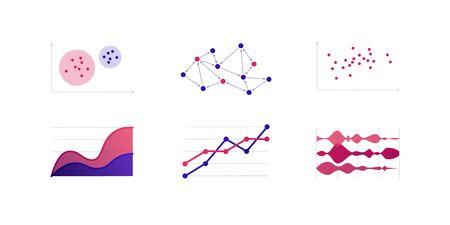Infographic element collection. Vector flat color illustration set. Line, area, stream chart on white. Sociogram, cluster analysis diagram. Design for ui, science poster, marketing, presentation Vektorové ilustrace