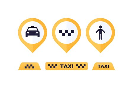 Taxi service concept. Vector flat illustration set. Collection of signboards and map pins. Man, car, text. Design element for banner, poster, ui, web, online application. Ilustracje wektorowe