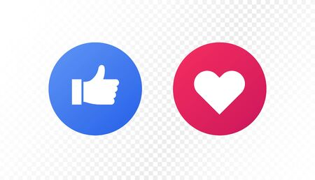 Social media icon concept. Vector flat illustration. Like thumb up and love heart sign in circle frame isolated on transparent background. Design element for banner, button, ui, post.