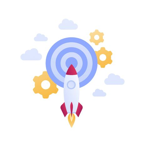 Startup and successful innovation business launch concept. Vector flat illustration. Fly rocket in sky aim target. Gear wheel engineering symbol. Design element for banner, poster, web Illustration
