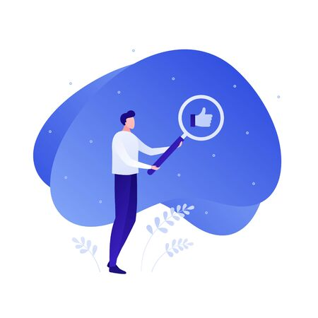 Social media marketing and customer support service character concept. Vector flat person illustration. Man hold magnifying glass on thumb up icon. Design element for banner, web, infographic.