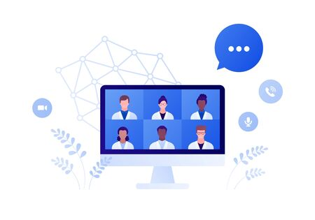 Medical council and online doctor teleconference concept. Vector flat person illustration. Group of male and female multi-ethnic team of medic on computer monitor screen. Design for health care.