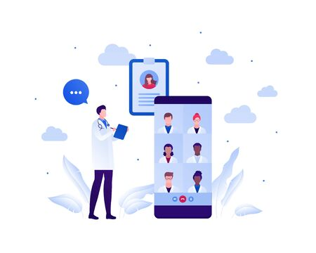Medical council and online doctor teleconference concept. Vector flat person illustration. Man talking with group of male and female multi-ethnic team on smart phone screen. Design for health care.