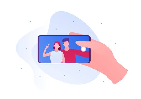 Selfie photo concept. Vector flat person illustration. Hand holding smartphone. Couple of male and female on device screen. Friendship and romatic date. Design for banner, poster, web. Ilustração