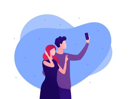 Selfie photo concept. Vector flat person illustration. Man holding smartphone. Couple of male and female posing. Friendship and romatic date. Design for banner, poster, web. Ilustração