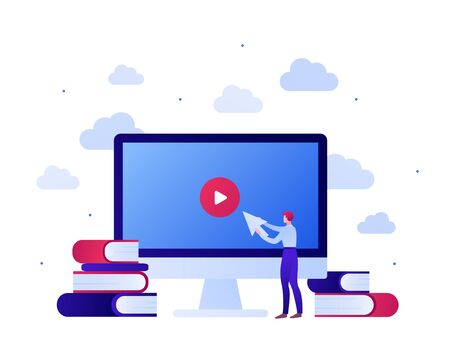Online education video app for online course concept. Vector flat people illustration. Man Hold arrow on computer screen with play button. Stack of book sign. Design for banner, infographic.