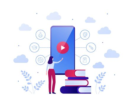 Online education video app for online course concept. Vector flat people illustration. Woman touch screen of smart phone with play button. Book and college theme icons. Design for banner, infographic. Illustration