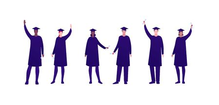 College education and graduation celebration concept. Vector flat person illustration set. Group of multi-ethnic academic men and women in gown, hat hold diploma. Design for banner, infographic, web.