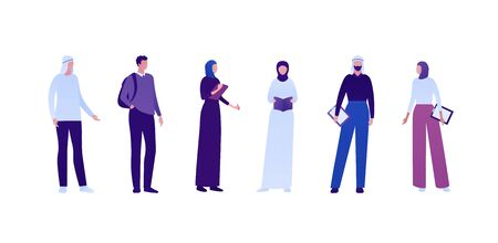 Muslim education college concept. Vector flat person illustration set. Group of standing student. Male and female in hijab with book, backpack and notepad. Design for business banner, infographic.