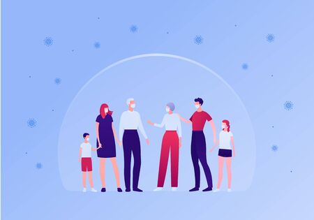 Big family relationship and disease virus protection concept. Vector flat person illustration. People in mask under shield. Young, adult and senior character. Design element for banner, infographic.