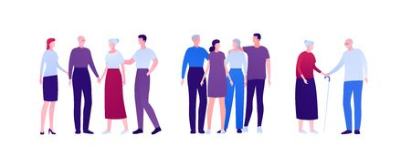 Big family relationship and support concept. Vector flat person illustration. Group of men and women embrace and holding hand. Adult and senior people. Design element for banner, infographic, web.  イラスト・ベクター素材