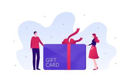 Gift card for business shopping sale and romantic relatioship concept. Vector flat person illustration. Couple of male and female stand near coupon with ribbon. Design for banner, infographic. Illustration