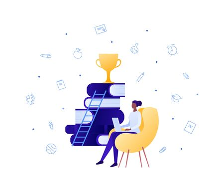 Online education is ladder of success concept. Vector flat person illustration. African woman sit with laptop. Stack of book, trophy award, school icon on background. Design for banner, infographic  イラスト・ベクター素材