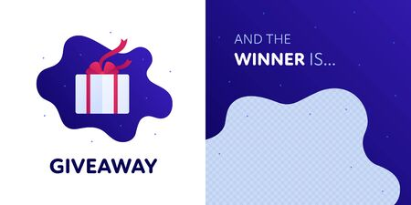 Social media giveaway social media and winner post template. Vector flat illustration set. Giftbox prize with red ribbon. Win announcement message with transparent copy space. Design for contest, quiz  イラスト・ベクター素材