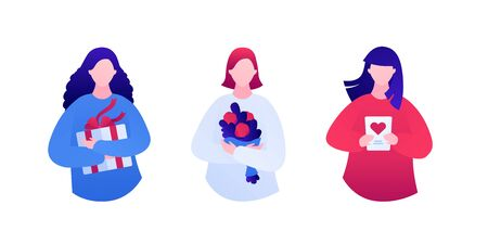Gift for woman concept. Vector flat people illustration set. Collection of female hold gift box, flower bouquet, greeting card with heart. Design for birthday, mother, woman and valentine day holiday.