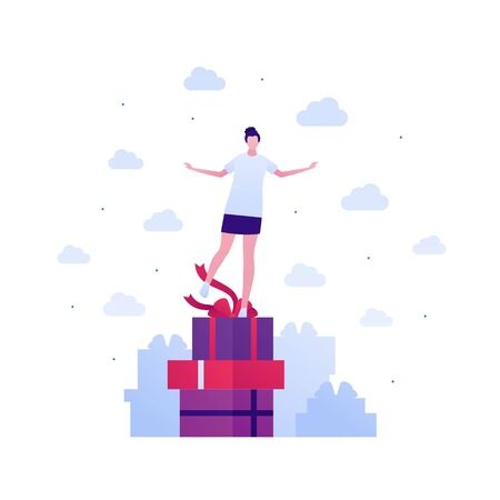 Gift for woman concept. Vector flat people illustration set. Collection of female stand on stack of red gift box. Design for birthday, mother, woman and valentine day holiday.  イラスト・ベクター素材