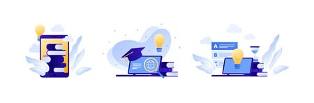 Online education and science library concept. Vector flat illustration set. Collection with laptop computer, lightbulb and stack of book element. Design for college, school, academy course banner