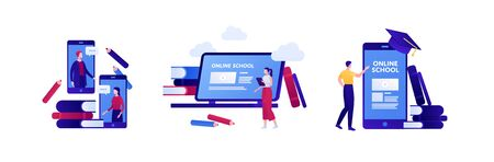 Online education and science library concept. Vector flat illustration set. Collection with people student, smart phone mobile app and commucation element. Design for college, school, academic banner
