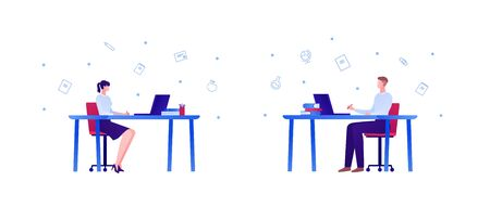 Online education, business work and science concept. Vector flat people illustration set. Man and woman sit on chair at desk with laptop computer, books . Design for college, school, academic banner