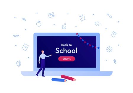 Online education technology concept. Vector flat person illustration. Big laptop with back to school banner and button. Male character with pen. Design for college and school web, banner, infographic