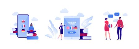 Online language school and education concept. Vector flat illustration set. Bundle of icon with english, french and german flag on mobile app smart phone screen. People communication. Design element.