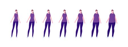 Woman body weight concept, Vector flat person illustration set. Collection of females in casual outfit isolated on white. Slim to muscular. Normal to overweight. Front view. Design for infographic Illustration