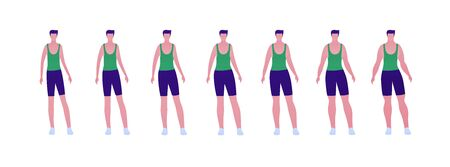 Man body weight concept, Vector flat person illustration set. Collection of males in sport outfit isolated on white. Slim to muscular. Front view. Design element for banner, infographic