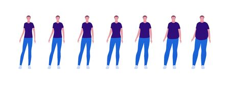 Man body weight concept, Vector flat person illustration set. Collection of males in casual outfit isolated on white. Slim to muscular. Normal to overweight. Front view. Design for banner, infographic