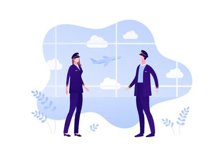 Airline crew team concept. Vector flat person illustration. Man and woman in blue pilot suit on airport window with plane jet background. Design element for banner, web, infographic.