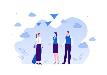 Airline crew team concept. Vector flat person illustration. Man and woman in blue pilot and steward outfit on cloud sky background with paper plane sign. Design element for banner, web, infographic.