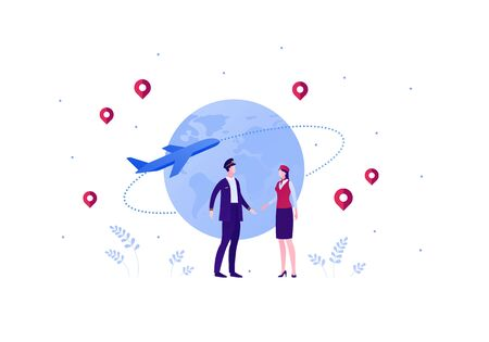 Airline crew team concept. Vector flat person illustration. Man and woman in blue pilot and red stewardess outfit with planet earth and airplane jet sign. Design element for banner, web, infographic.