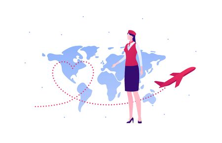 Airline crew team concept. Vector flat person illustration. Woman in red and blue stewardess uniform with planet earth map and heart shape plane trajectory sign. Design element for banner, web, infographic.
