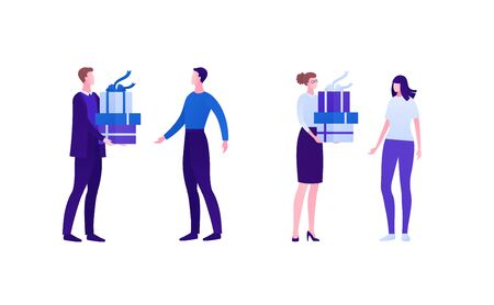 Business gift and marketing concept. Vector flat person illustration set. Male and female businessman and businesswoman hold and give giftbox on white. Design element for banner, web, infographic.