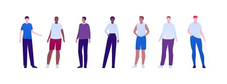 Casual people diversity concept collection. Vector flat character illustration set. Man group with different body weight and ethnic. African, caucasian, hispanic. Design element for avatar, banner