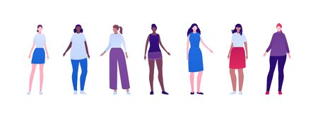 Casual people diversity concept collection. Vector flat character illustration set. Woman group with different body weight and ethnic. African, caucasian, hispanic. Design element for avatar, banner