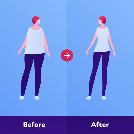 Before and after weight loss concept. Vector flat person illustration. Woman with overweight body and skinny slim figure. Design character element for banner, web, infographic. Illustration