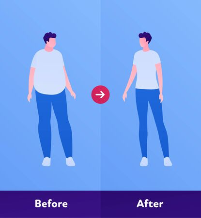 Before and after weight loss concept. Vector flat person illustration. Man with overweight body and normal slim figure. Design character element for banner, web, infographic.
