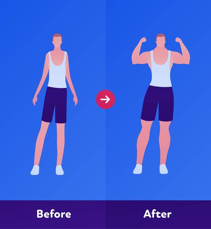 Before and after sport gym concept. Vector flat person illustration. Man with slim body and muscle athlete figure. Design character element for bodybuilder banner, web, infographic.